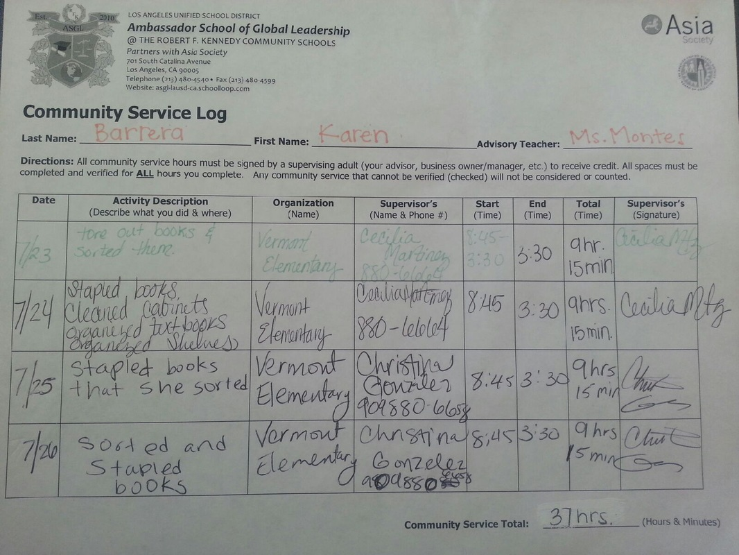 Extracurricular Community Service Log Asgl Senior