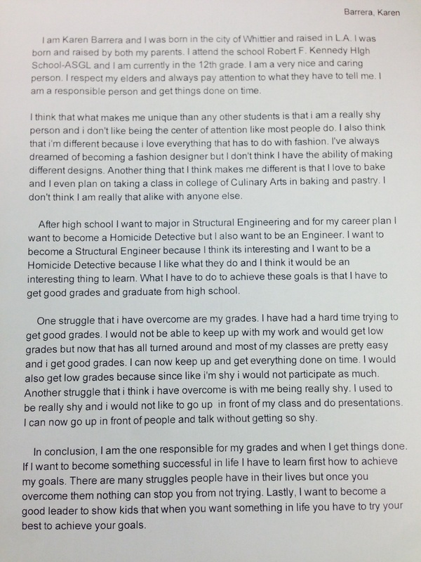 Asgl Senior Portfolio Brag Sheet Personal Statement